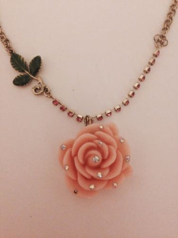betsey johnson necklace Pink Pastel Unicorn Dream Angel Rose Flower Charm