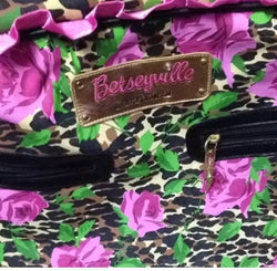 betsey johnson Carry On Luggage Overnighter Purple Black Rose Original Ruffle