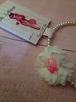 Pink White Pearl oh Lollipop Candy Girls Headband