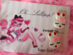 Oh Lollipop Sweet Barbie Pink Bunny Heart Bow Pinup Post Stud Rockabilly Earring