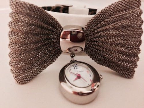 betsey johnson Watch White Wedding Patent Leather Bow Silver Bracelet Kawaii