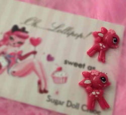 Oh Lollipop Sweet Barbie Pink Fawn Bambi Deer Pinup Post Stud Rockabilly Earring