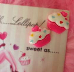 Oh Lollipop Candy Pink Heart Cupcake Frosted Sugar Barbie Doll Post Stud Earring