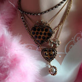 betsey johnson Lucite Heart Layered Polka Dot Princess Bow Tea Party Necklace