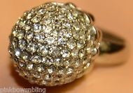 Betsey Johnson round retro crystal silver ring
