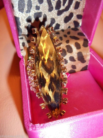Betsey Johnson crystal Lucite ring