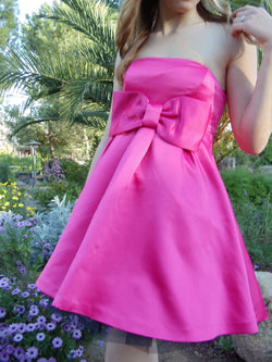 Betsey Johnson Pink Prom babydoll satin dress doll formal strapless tule Giant Bow cute sweet