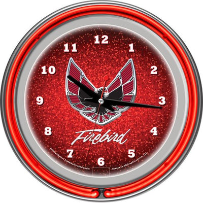 "Red Pontiac 14.5"" Firebird Double Ring Neon Wall Clock - FirebirdFanBase.com"