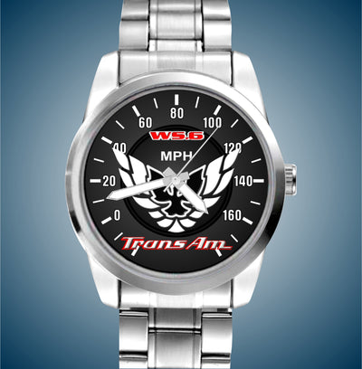 WS6 350 Red and White Trans Am Stainless Mens Watch - FirebirdFanBase.com