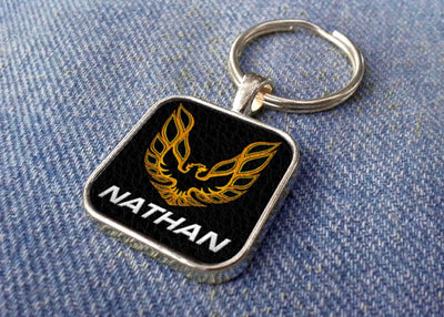 Pontiac Firebird Personalized Metal and Faux Leather Keychain - FirebirdFanBase.com