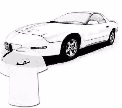 Hand Drawn Pontiac Firebird 4th Generation T shirt - FirebirdFanBase.com