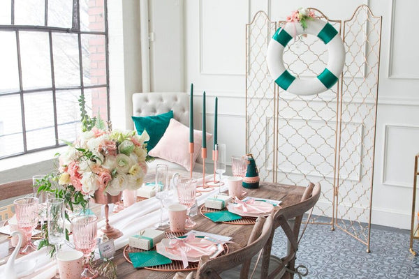 were going to make it a piece of cake with this gorgeous pink emerald bridal shower party theme styled by our friends at black twine