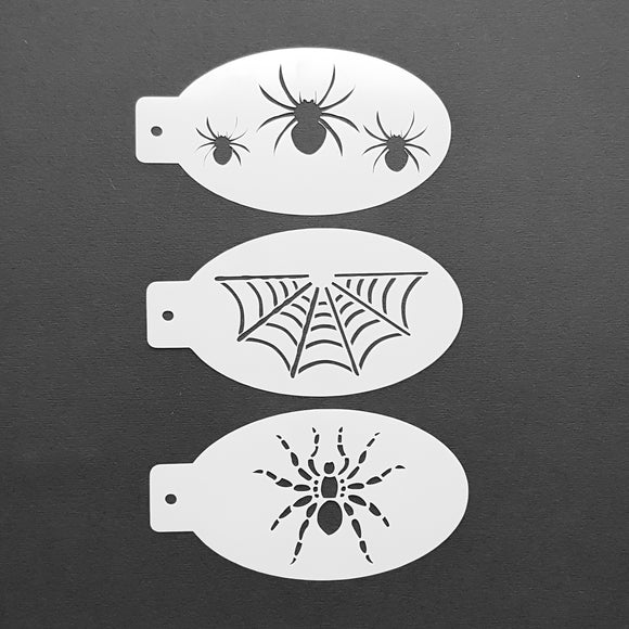 Face Painting Stencils - Set F - Three Spider Stencils