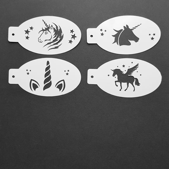 Face Painting Stencils - Set E - Four Unicorn Stencils