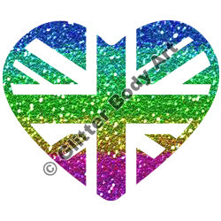 Glitter Tattoo Stencils - 241 Union Jack Heart