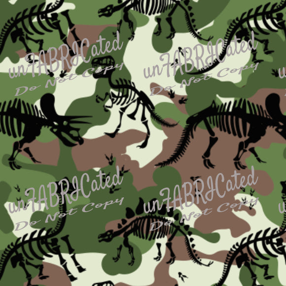 Designer Fabric - per metre - SA Designer unFABRICated - Black Dino on Green Camo (printed without watermark)-The Face Painters South Africa for Custom-Printed Fabric and Facepaint Supplies