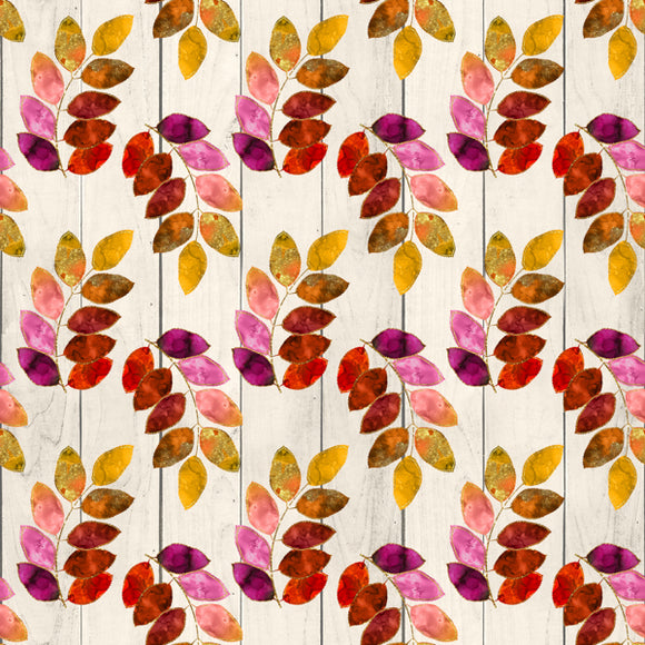 FABArt Custom Print Fabric - F01 Colourful Leaves 12