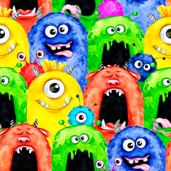 Designer Fabric - per metre - Happy Monsters-The Face Painters South Africa for Custom-Printed Fabric and Facepaint Supplies