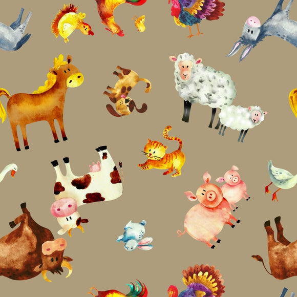 FABArt Custom Print Fabric - Showcase SA Designer Joey and Jo - Farm Animals Tan