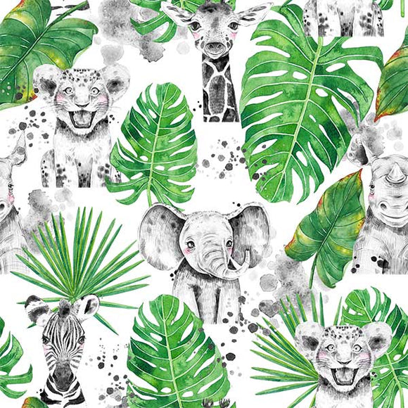 Designer Fabric - per metre - Animal Sketch 10-The Face Painters South Africa for Custom-Printed Fabric and Facepaint Supplies