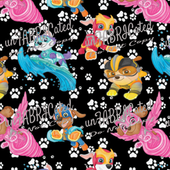 Designer Fabric - per metre - SA Designer unFABRICated- Puppies at Play on Black (printed without watermark)-The Face Painters South Africa for Custom-Printed Fabric and Facepaint Supplies
