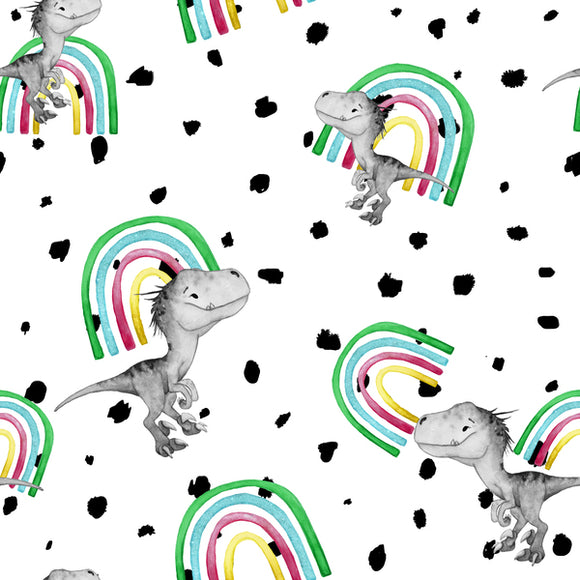 FABArt Custom Print Fabric - Showcase SA Designer Lola Graphic Images - Roarsome Rainbow