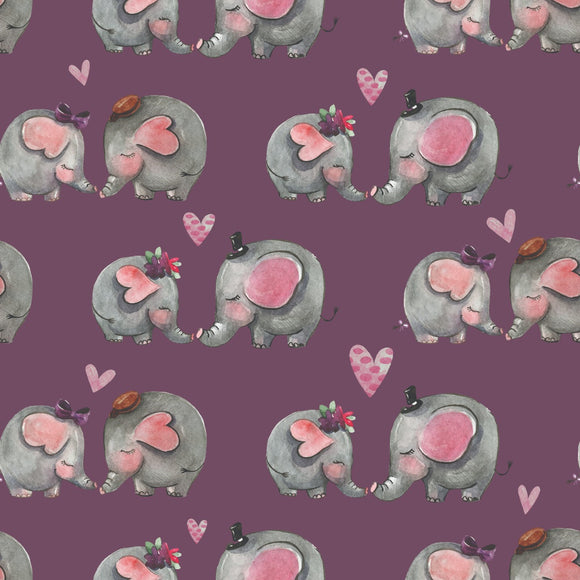 FABArt Custom Print Fabric - Showcase SA Designer Joey and Jo - Elephants Mauve