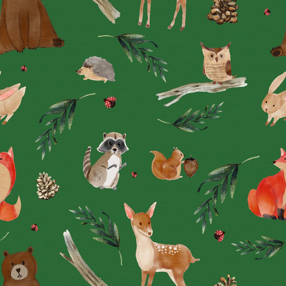 FABArt Custom Print Fabric - Showcase SA Designer Joey and Jo - Woodland Animals Green