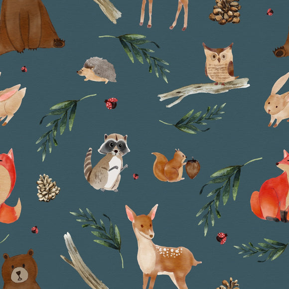 FABArt Custom Print Fabric - Showcase SA Designer Joey and Jo - Woodland Animals Blue