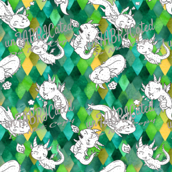 Designer Fabric - per metre - SA Designer unFABRICated - Cute Dragons on Green Scales (printed without watermark)-The Face Painters South Africa for Custom-Printed Fabric and Facepaint Supplies