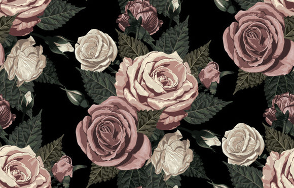 Designer Fabric - per metre - Blush Toned Roses-The Face Painters South Africa for Custom-Printed Fabric and Facepaint Supplies