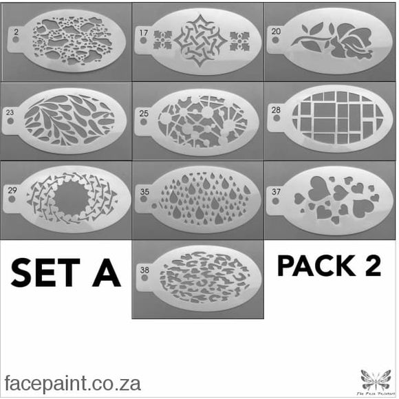Face Painting Stencils - Set A Pack #2 (10 Stencils)