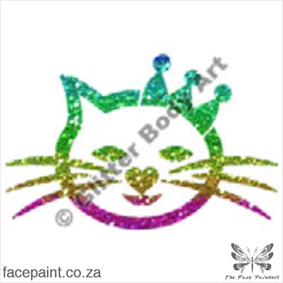 Glitter Tattoo Stencils - 006 Cat Crown Tattoos