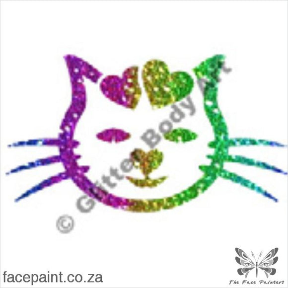 Glitter Tattoo Stencils - 007 Cat Hearts Tattoos