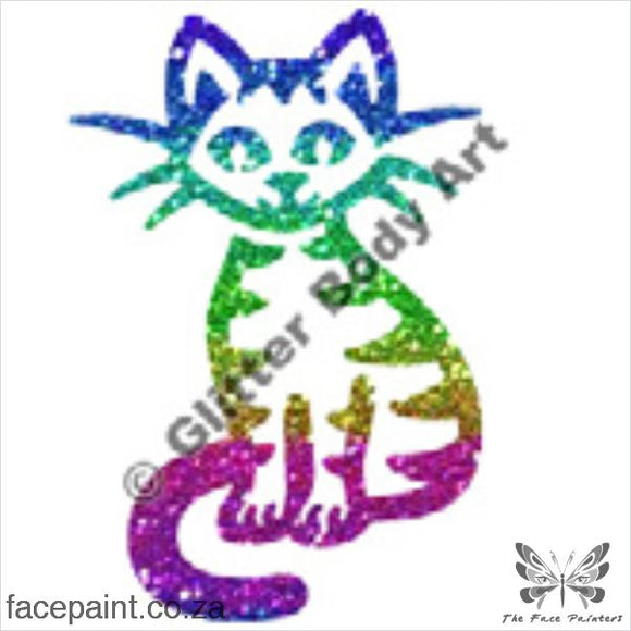 Glitter Tattoo Stencils - 008 Cat Sitting Tattoos