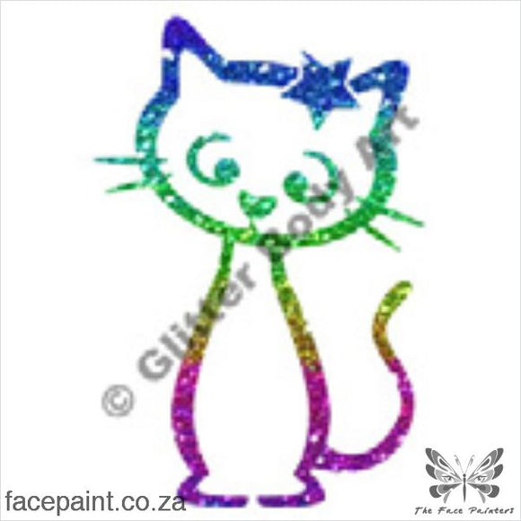 Glitter Tattoo Stencils - 036 Cat Star Tattoos