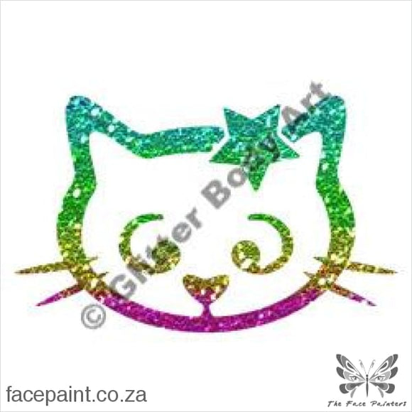 Glitter Tattoo Stencils - 037 Cat Star Tattoos