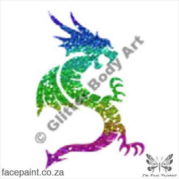Glitter Tattoo Stencils - 087 Standing Dragon Tattoos