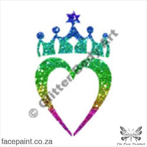 Glitter Tattoo Stencils - 119 Crown Heart Tattoos