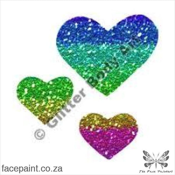 Glitter Tattoo Stencils - 124 Triple Hearts Tattoos