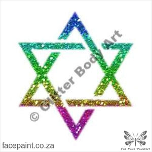 Glitter Tattoo Stencils - 172 Star Of David Tattoos
