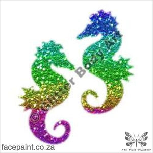 Glitter Tattoo Stencils - 187 Seahorse Friends Tattoos