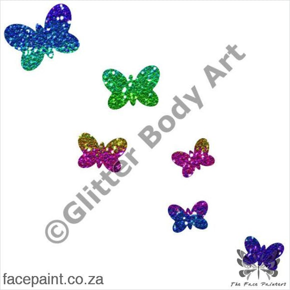 Glitter Tattoo Stencils - 212 Flying Butterflies Tattoos