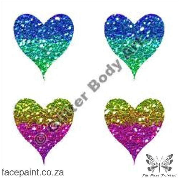 Glitter Tattoo Stencils - 234 Mini Hearts Tattoos