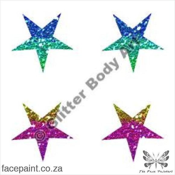 Glitter Tattoo Stencils - 235 Mini Stars Tattoos