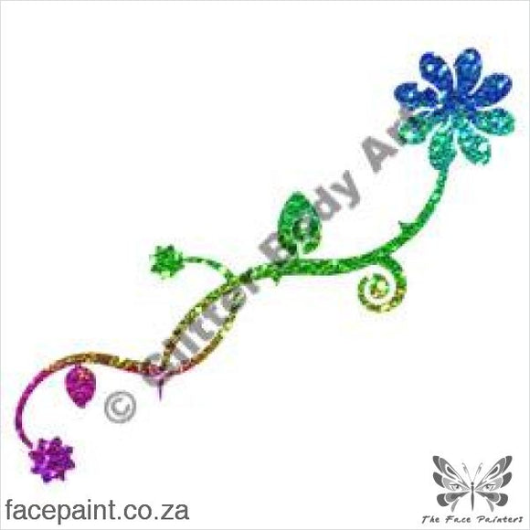 Glitter Tattoo Stencils - 242 Flower Scroll Tattoos