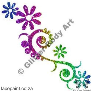 Glitter Tattoo Stencils - 357 Scroll Flowers Tattoos