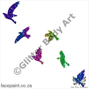 Glitter Tattoo Stencils - 388 Flying Birds Tattoos