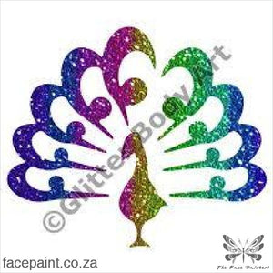 Glitter Tattoo Stencils - 413 Peacock Tattoos