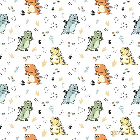 FABArt Custom Print Fabric - Showcase SA Designer Shirley Labuschagne - Kids 10 Dinosaurs